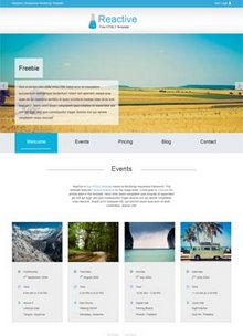 国外蓝色的html5响应式旅游网站单页bootstrap模板下