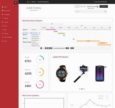 红色的企业商城管理系统html5响应式后台模板
