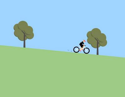 html5绘制坡度骑自行车动画特效