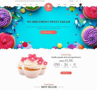 html5英文卡通的甜品蛋糕购物商城模板