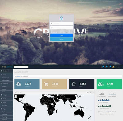 黑色扁平化网站管理系统通用后台模板