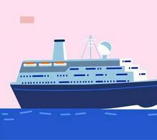 css3 svg海面上航行轮船动画场景特效