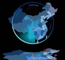 html5 canvas中国地图雷达扫描动画特效