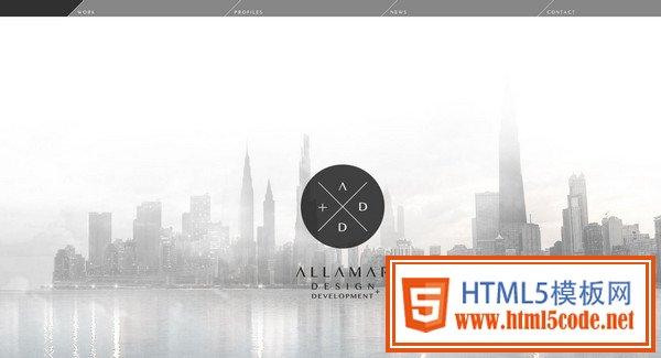 这个网站也用深色的城镇风景图作为背景,白色细字体标语看起来非常