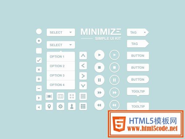 Minimize Free Photoshop UI Kit