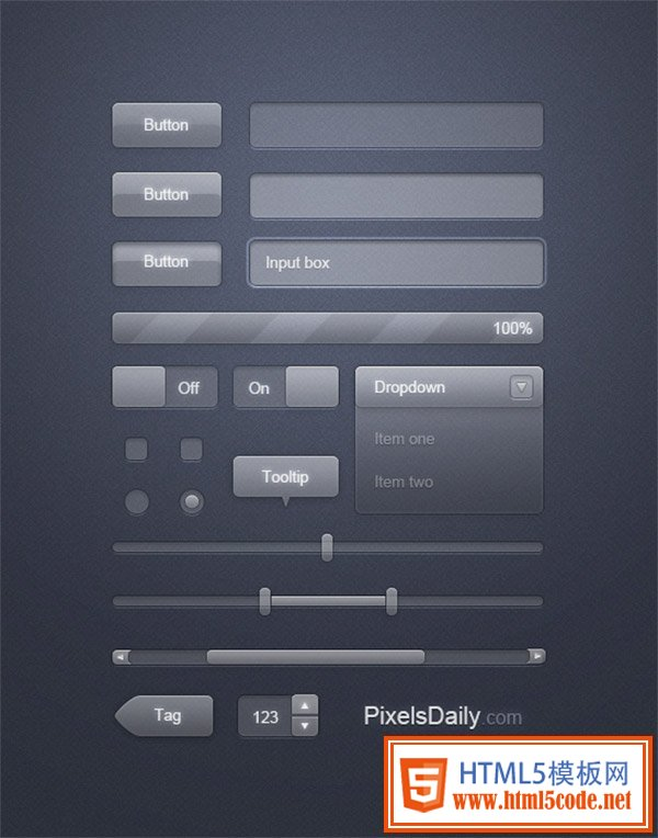 Transparent Glass Free Photoshop UI Kit